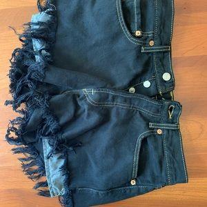 Levi's Black frayed bottom denim shorts